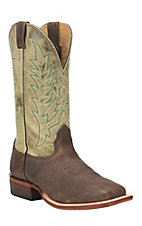 Cavender's Men's Burnished Brown with Hunter Green Upper Western Square Toe Boots