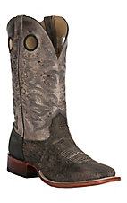 Cavender's Men's Distressed Dark Brown and Adobe Shrink Bison Square Toe Western Boot