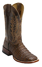 Cavender's Pecan Caiman Belly Double Welt Square Toe Exotic Western Boots