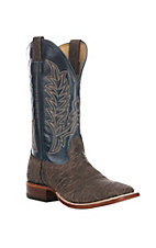 Cavender's Men's Distressed Chocolate & Blue Western Wide Square Toe Boot