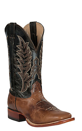 Cavender's Men's Cognac Puma with Nicotine Top Double Welt Square Toe Western Boots