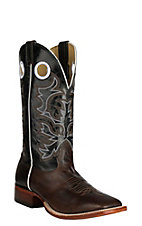 Cavender's Chocolate Fuji & Black Puma Upper Western Wide Square Toe Boots