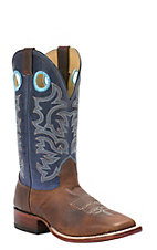 Cavender's Men's Cognac Brown with Navy Top Double Welt Square Toe Western Boots