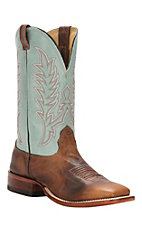 Cavender's Men's Burn with Light Blue Top Double Welt Square Toe Western Boots