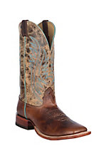 Cavender's Men's Premium Fugi Cowhide w/ Tan Road Top & Turquoise Beading & Sideseam Western Square Toe Boots