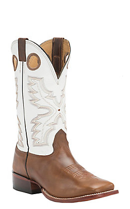 Cavender's Men's Saddle Brown with White Top Double Welt Square Toe Western Boots