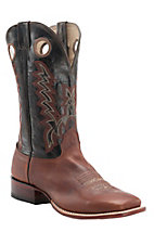 Cavender's Men's Mesquite Brown with Chocolate Top Double Welt Square Toe Western Boots