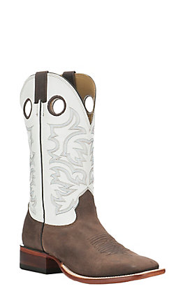 Cavender's Men's White with Dark Brown Square Toe Western Boot