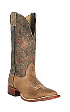 Cavender's Light Tan Rowdy & Antique Tan Leather Upper Western Wide Square Toe Boots
