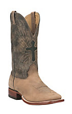Cavender's Men's Light Tan with Distressed Tan Upper with Winged Cross Design Western Square Toe Boots