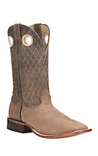 Cavender's Men's Natural Tan with Brown Diamond Stitch Upper Western Square Toe Boots