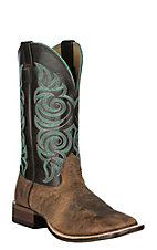 Cavender's Dark Rowdy & Chocolate Upper Western Wide Square Toe Boots