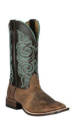 Cavender's Dark Rowdy & Chocolate Wide Square Toe Western Boots