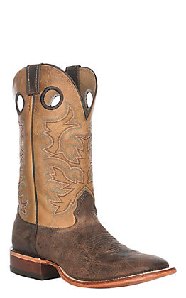 Cavender's Men's Rugged Whiskey and Carmel Wide Square Toe Western Boots