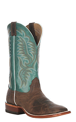 Cavender's Men's Rugged Whiskey and Turquoise Wide Square Toe Western Boots