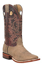 Cavender's Men's Tan with Dino Dark Red Upper Western Square Toe Boots