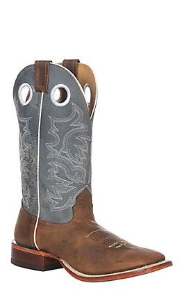 Cavender's Men's Chocolate Blue Grey and Antique Mocha Wide Square Toe Western Boots