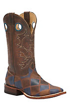 Cavender's Men's Rustic Brown & Navy Patchwork Double Welt Square Toe Western Boots