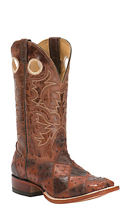 Cavender's Men's Cognac & Tobacco Full-Quill Ostrich Patchwork Square Toe Exotic Western Boots