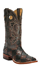 Cavender's Men's Black & Chocolate Full-Quill Ostrich Patchwork Double Welt Exotic Square Toe Western Boots