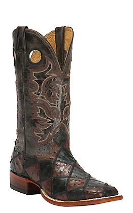 77d18ef160 Cavender s Men s Black   Chocolate Full-Quill Ostrich Patchwork Double Welt  Exotic Square Toe Western