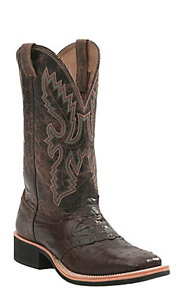 Cavender's Kango Tobacco Brown Full Quill Ostrich Square Toe Exotic Western Boots