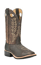 Cavender's Men's Distressed Desert Snake Bison with Dark Tan Goat Upper Western Square Toe Boots