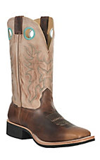 Cavender's Men's Brown with Vintage Tan Top Double Welt Crepe Sole Square Toe Western Boots