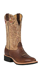 Cavender's Men's Brown with Tan Top Double Welt Crepe Sole Round Toe Western Boots