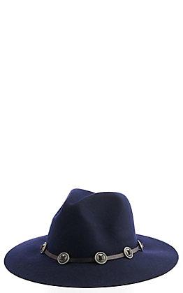 Scala Tycoon Navy Wool Felt Western Hat