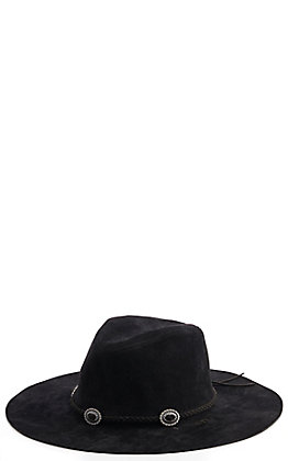 Scala Black Faux Suede Floppy Hat