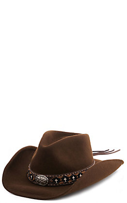 Scala Chocolate Wool Felt Cross Band Western Hat