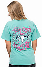 Cavender's Mint with Neon Pink Take Cancer By The Horns Pocket Short Sleeve Tee