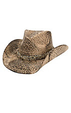 Dorfman Pacific Toasted Straw with Silver Beaded & Brass Stud Band Fashion Cowboy Hat