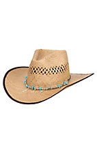 Scala by Dorfman Pacific Tan Vented Straw Fashion Cowboy Hat L/XL