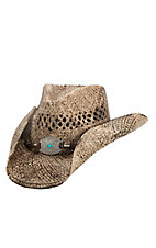 Dorfman Pacific Toasted Straw with Turquoise Concho Band Fashion Cowboy Hat