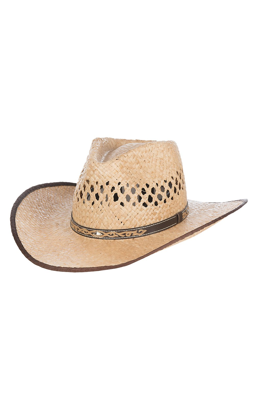4953e54a458 Scala by Dorfman Pacific Tan Vented Straw Fashion Cowboy Hat S M ...