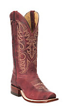 Cavender's Ladies Distressed Red Mezkite Cow Leather with Cream Embroidery Cutter Toe Western Boot