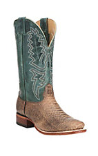 Cavender's Women's Cognac with Turquoise Upper Western Square Toe