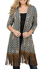 James C Women's Cream and Blue with Fringe Sweater Cardigan