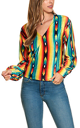 Lucky and Blessed Women's Serape Stripe Surplus Long Sleeve Top