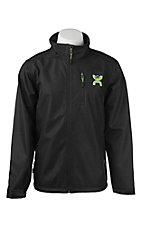 HOOey Men's Black with Lime Logo Long Sleeve Bonded Jacket