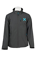 HOOey Men's Grey with Turquoise Logo Long Sleeve Bonded Jacket