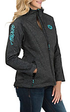 HOOey Women's Dark Grey and Teal Softshell Jacket