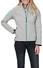 HOOey Women's Heather Grey and Turquoise Logo Jacket