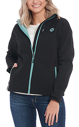 HOOey Women's Black with Turquoise Logo Softshell Jacket