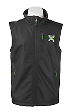 HOOey Men's Black with Lime Logo Sleeveless Bonded Vest