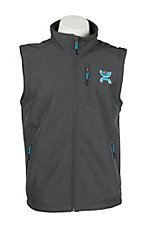 HOOey Men's Grey with Turquoise Logo Sleeveless Bonded Vest