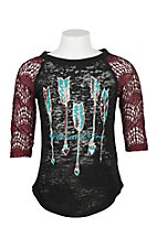 Southern Grace Black and Burgundy Wild and Free Shirt