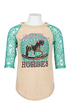 Southern Grace Girls Tan & Turquoise Hold Your Horses w/ Lace Shirt
